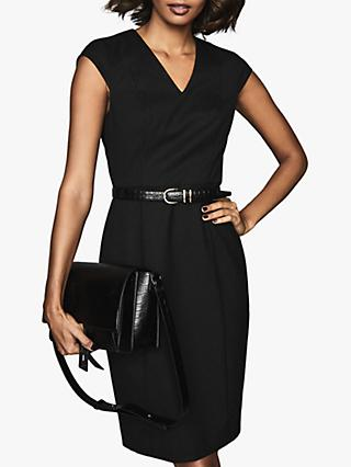 Reiss Hartley V-Neck Tailored Dress, Black