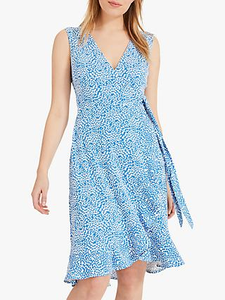 Phase Eight Ditsy Print Wrap Dress, Blue/White