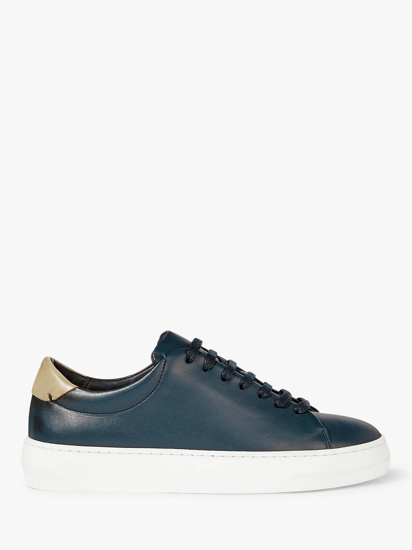 Buy Jigsaw Margot Leather Trainers, Navy, 3 Online at johnlewis.com