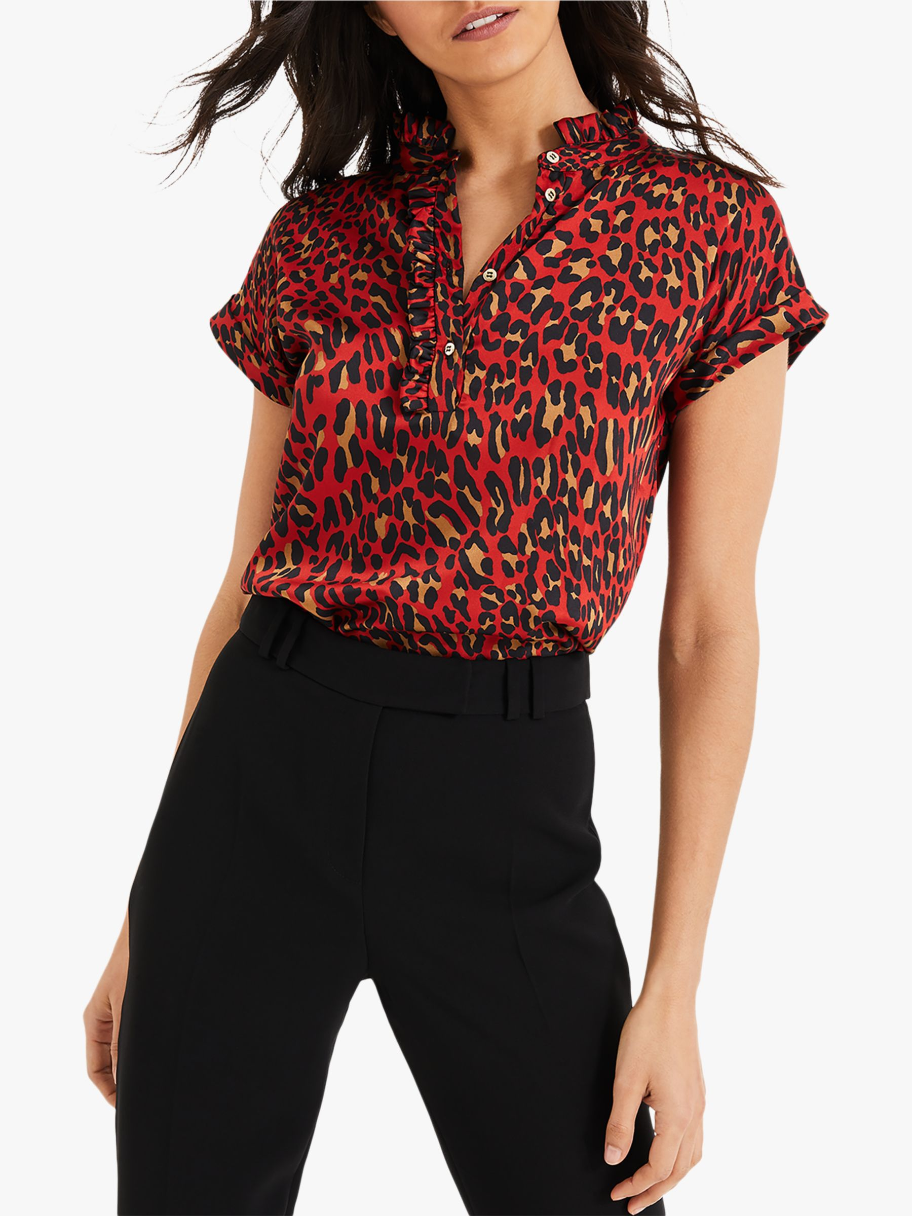 Damsel in a dress Damsel in a Dress Aimee Animal Print Short Sleeve Blouse, Red