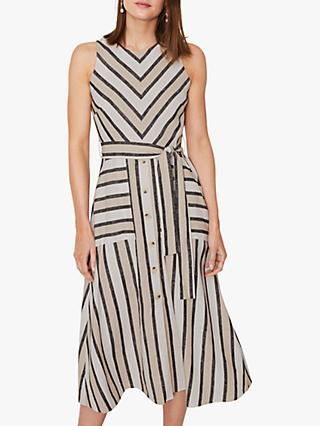 Warehouse Striped Linen Blend Dress, Neutral