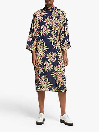 Kin Tokachi Tie Neck Floral Dress, Blue