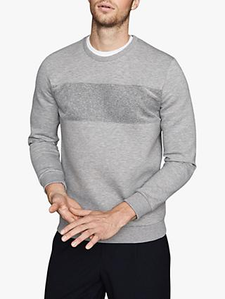 Reiss Arty Velvet Block Sweatshirt, Grey