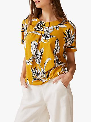 Phase Eight Lalita Palm Tree Print Top, Ochre
