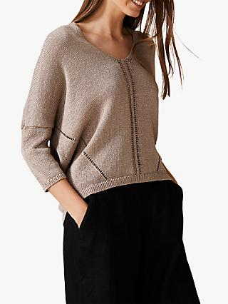 Phase Eight Tatienne Tape Knit, Pebble