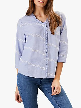 Phase Eight Daisy Embroidered Cotton Shirt, Chambray