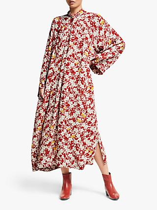 Kin Jana Floral Twist Neck Dress, Red