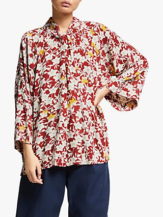 Kin Jana Floral Twist Neck Top, Red