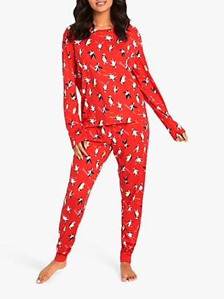 Chelsea Peers Skiing Penguin Pyjama Set, Red