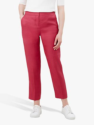 Hobbs Anthea Linen Trousers, Raspberry Pink
