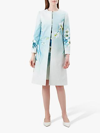 Hobbs Amelie Floral Coat, Blue/Multi