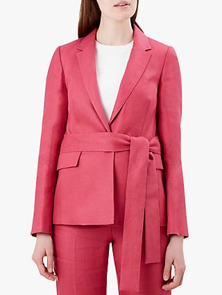 Hobbs Anthea Linen Jacket, Rasberry Pink