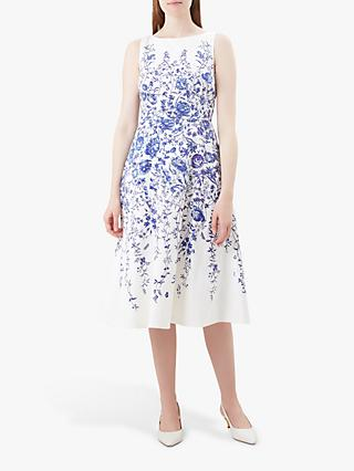 Hobbs Sissinghurst Floral Dress, Ivory/Blue