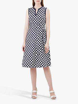 Hobbs Bettie Dress, Navy/White