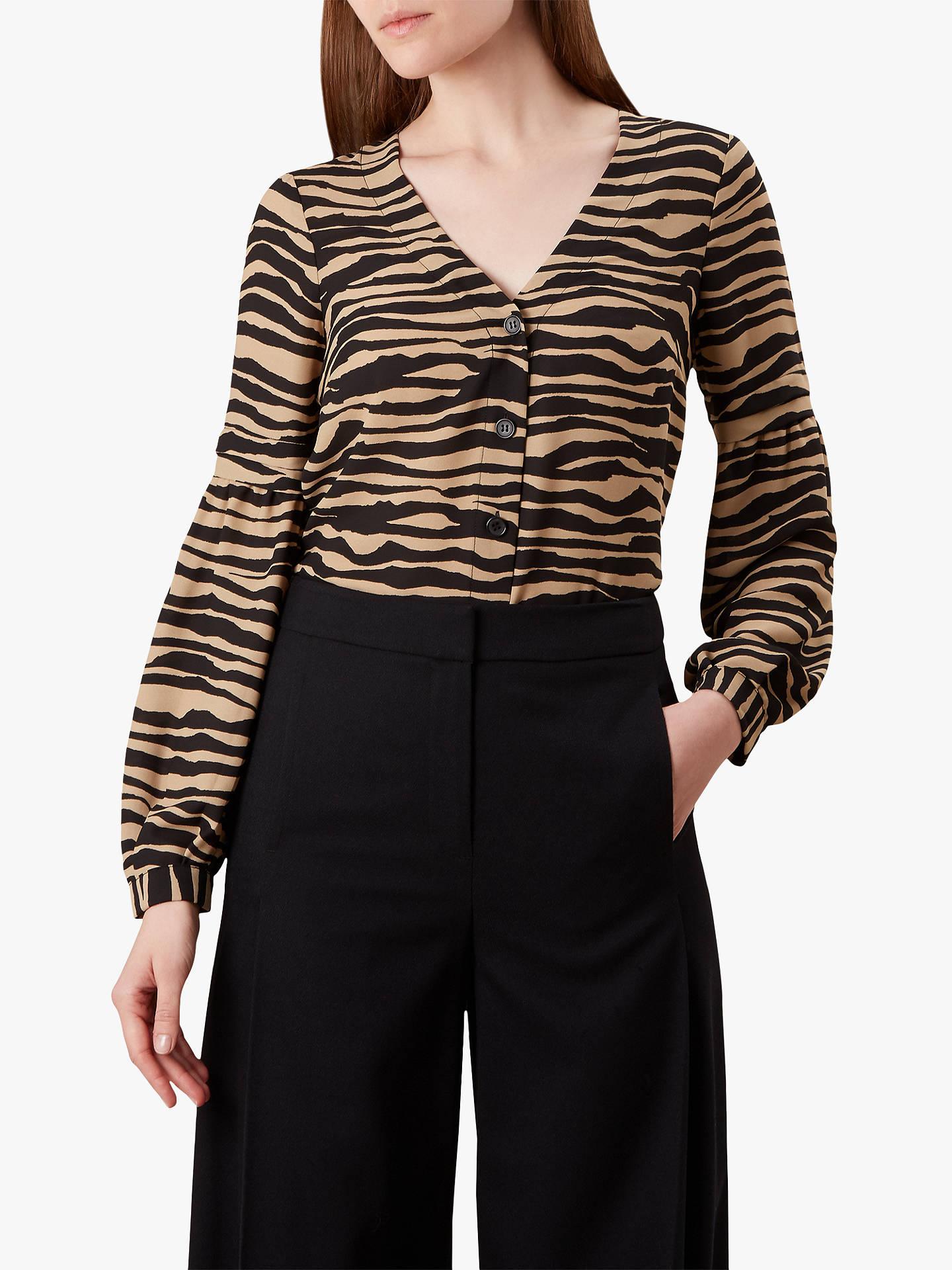 5d91994d17c8e Buy Hobbs Madeline Animal Print Shirt, Black/Neutral, 8 Online at johnlewis.