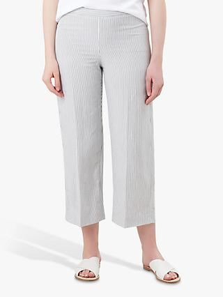 Hobbs Adele Stripe Trousers, Navy/White