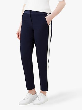 Hobbs Tamia Side Strip Trousers, Navy/Ivory