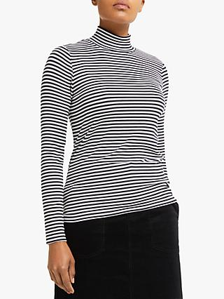 Collection WEEKEND by John Lewis Stripe Funnel Neck Ribbed Top, Navy/Ivory