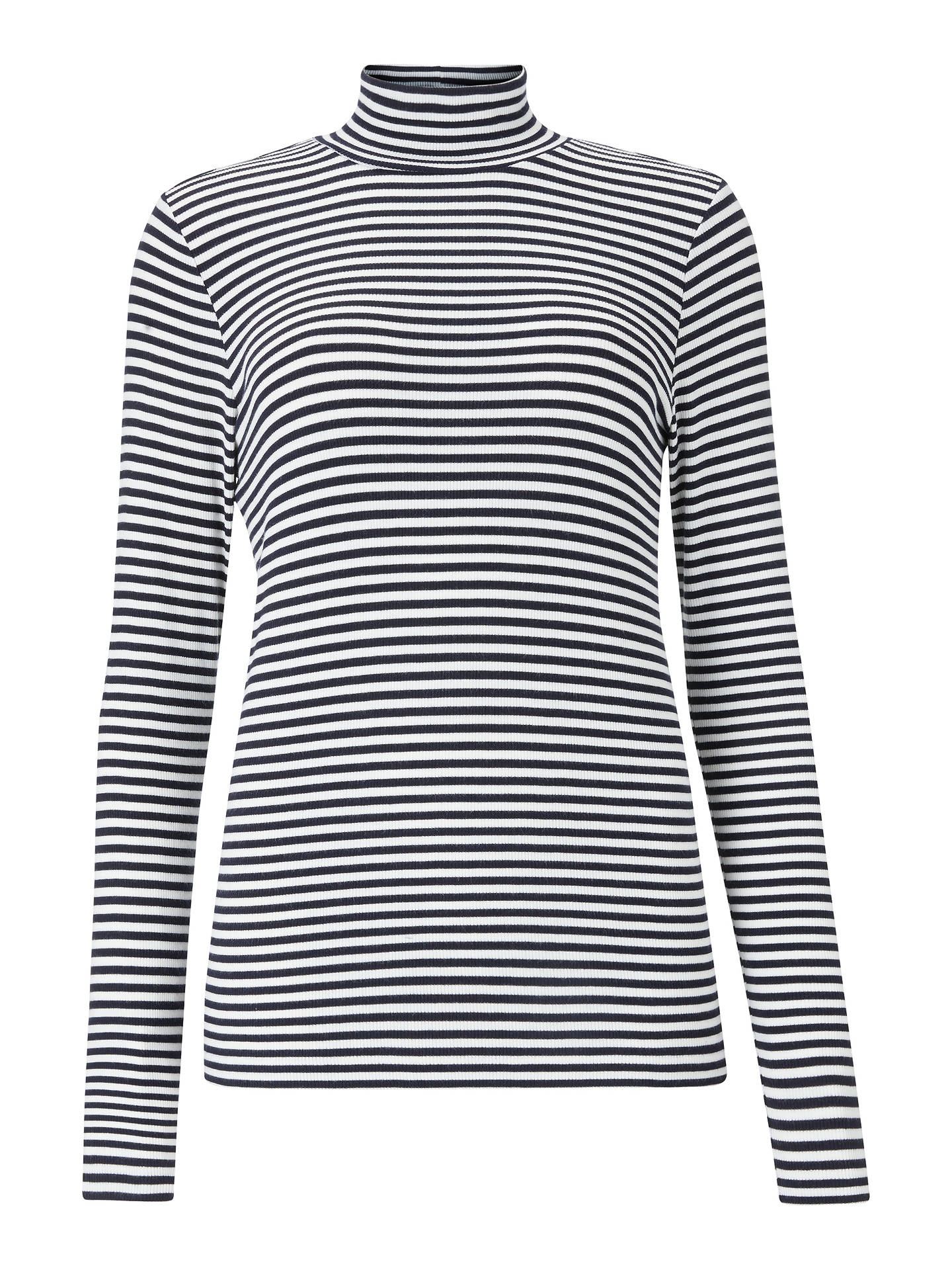 Buy Collection WEEKEND by John Lewis Stripe Funnel Neck Ribbed Top, Navy/Ivory, 8 Online at johnlewis.com