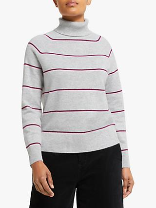Collection WEEKEND by John Lewis Cashmere Roll Neck Stripe Jumper