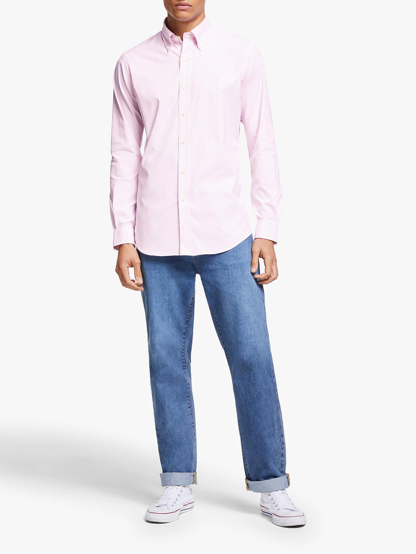 0868184e9c Polo Golf by Ralph Lauren Performance Oxford Stripe Shirt, Pink/White
