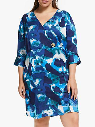 JUNAROSE Curve Watercolour Print Dress, Blue