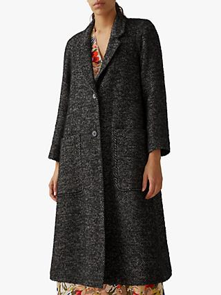 Toast Herringbone Wool Coat, Black
