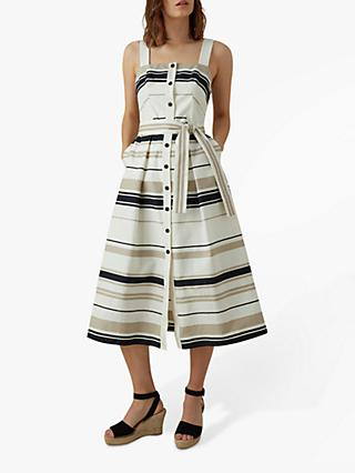 Karen Millen Stripe Day Dress, Black/White