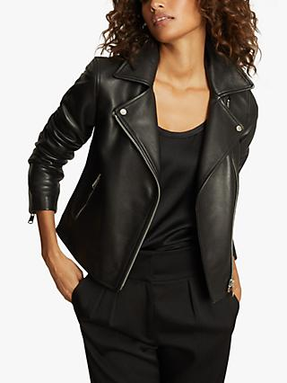 Reiss Geo Leather Biker Jacket, Black