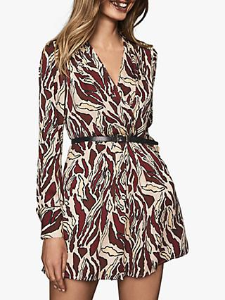 Reiss Tara Tiger Print Mini Dress, Brown/Multi