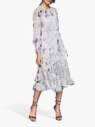 Reiss Annabelle Floral Print Midi Dress, Blue/White