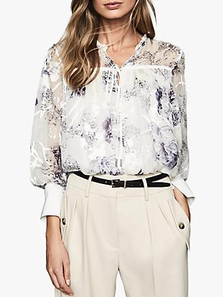 Reiss Anneka Floral Burnout Blouse, Blue/White