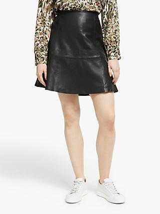 Numph Mayim Leather Skirt, Caviar
