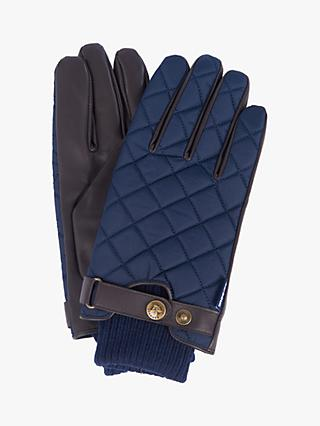 Barbour Quilted Leather Gloves, Navy