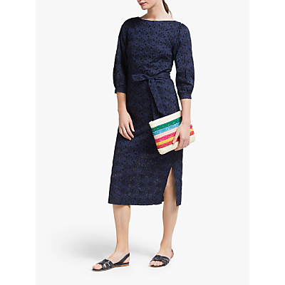 Image of Boden Claudette Broderie Dress, Navy