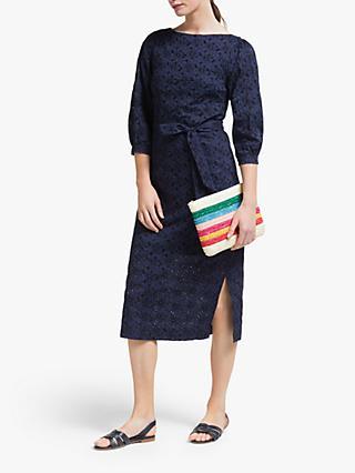 Boden Claudette Broderie Dress, Navy