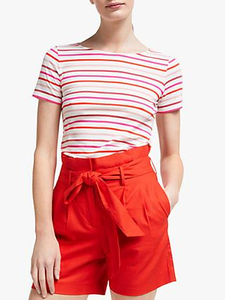Boden Short Sleeve Breton Stripe Top, Pink