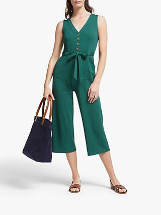 Boden Bryony Cotton Jersey Jumpsuit, Woodland Green
