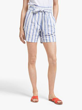 Boden St Ives Striped Paperbag Shorts, Cobalt Stripe