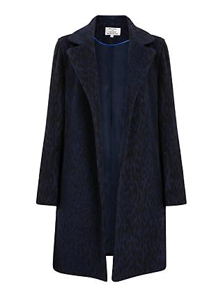 Helene For Denim Wardrobe Ruth Animal Print Coat, Navy/Black