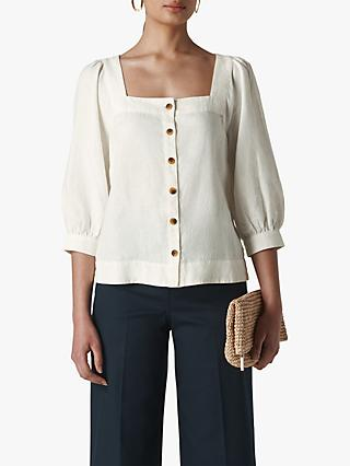 Whistles Linen Square Neck Blouse, White
