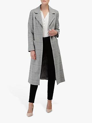 Helene For Denim Wardrobe Ruth Long Check Coat, Grey/Cream