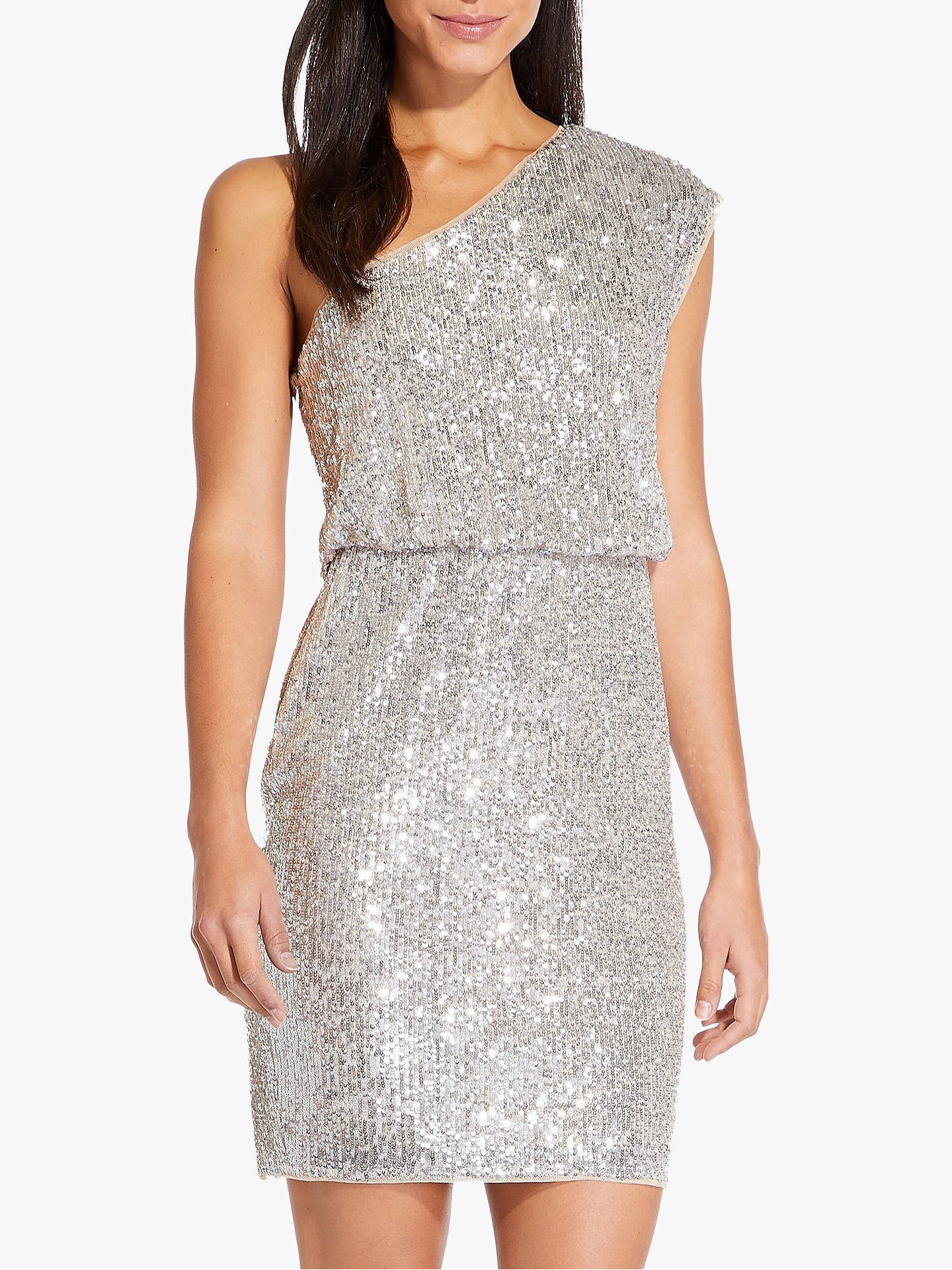 9ec953294a841 Buy Adrianna Papell One Shoulder Sequin Dress, Silver, 6 Online at  johnlewis.com ...