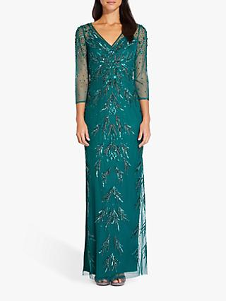 Adrianna Papell Beaded Mesh Maxi Dress, Dark Jade