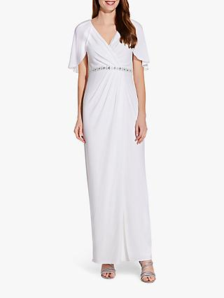 Adrianna Papell Embellished Drape Jersey Maxi Dress, Ivory