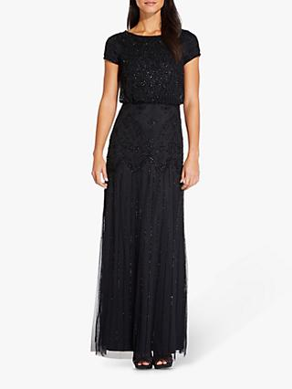 Adrianna Papell Short Sleeve Beaded Gown, Black
