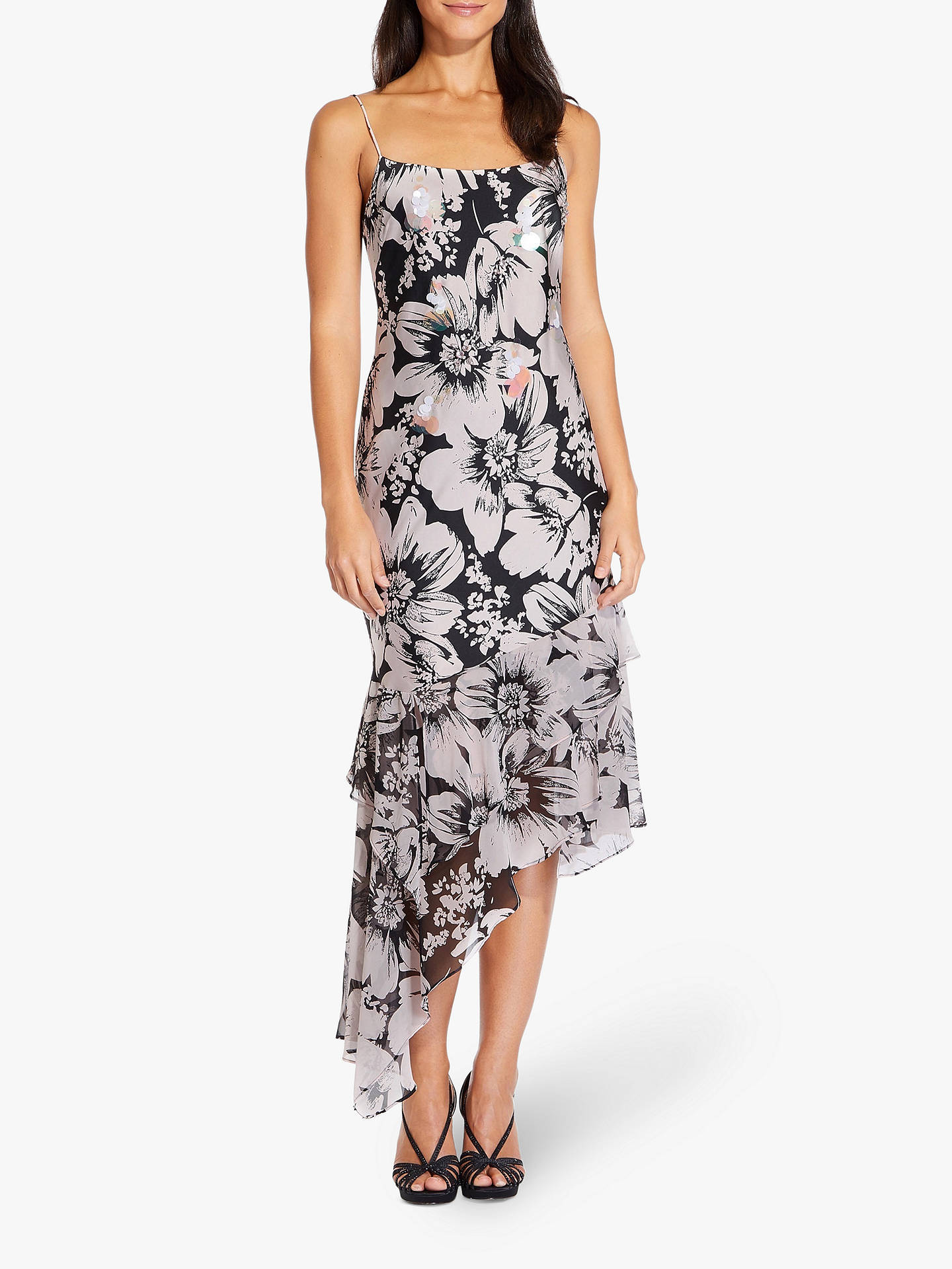 095578b241ef Buy Adrianna Papell Bias Cut Floral Dress, Blush/Black, 6 Online at  johnlewis ...