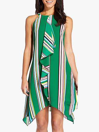 Adrianna Papell Striped Handkerchief Dress, Green/Multi