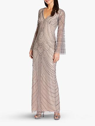 Adrianna Papell Beaded Bell Sleeve Column Dress, Mercury/Nude