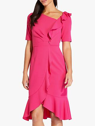 Adrianna Papell Draped Short Crepe Dress, Geranium